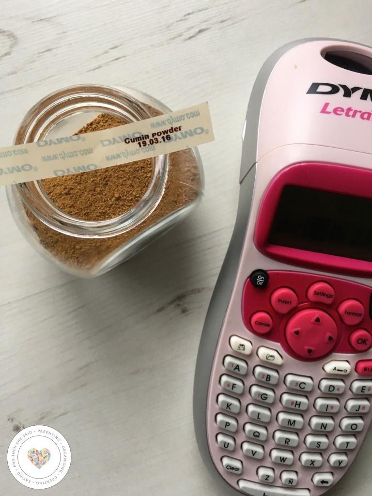 dymo labeller printing spice jar labels