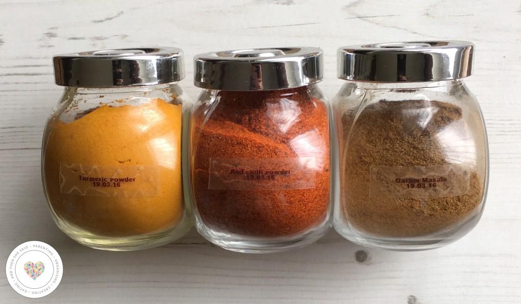 labelled spice jars