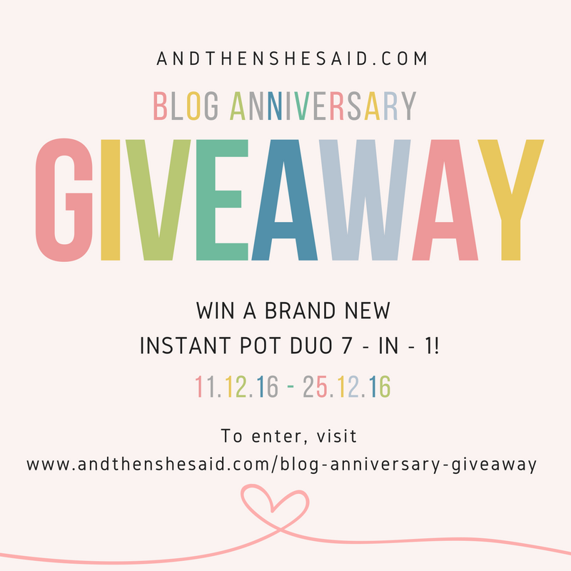 Blog anniversary giveaway closed and then she said for New home giveaway