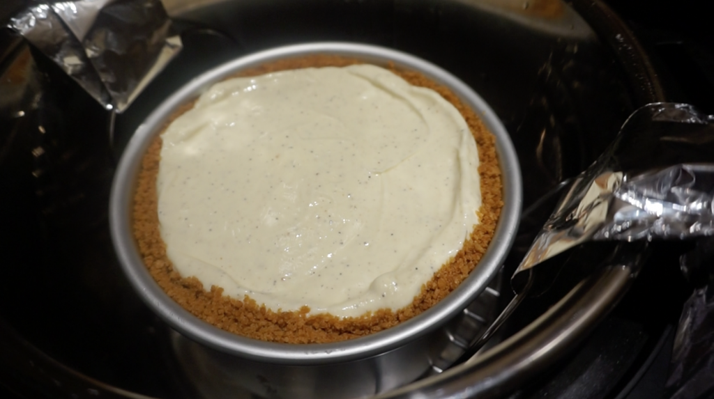adding the cheesecake into the pot
