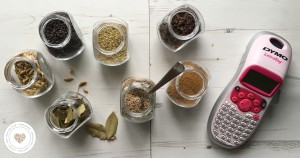 flat lay of spices with dymo labeller