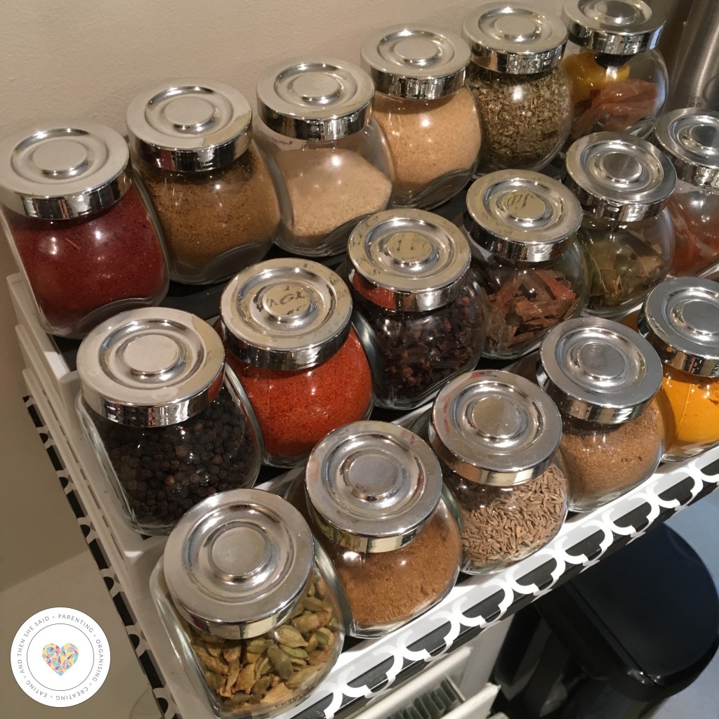 spice jars stacked on lakeland shelf organiser