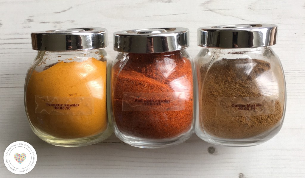 labelled spice jars