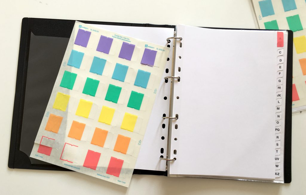 Recipe binder tabs