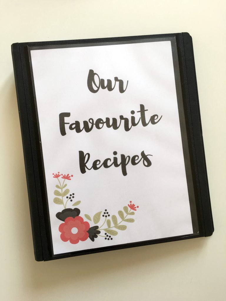 Recipe binder with printables
