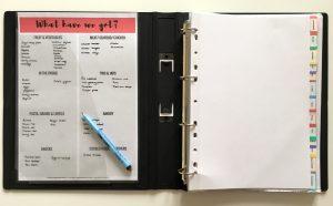 Recipe binder layout
