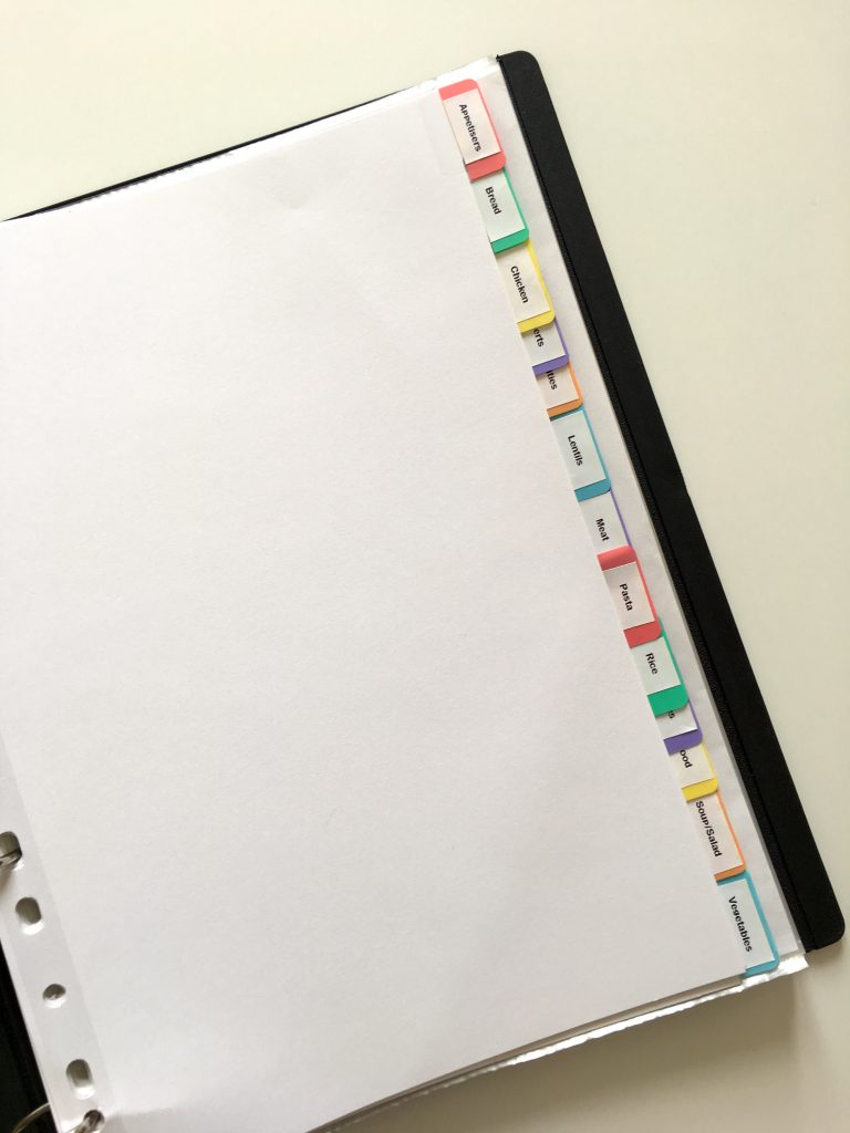 Recipe binder index