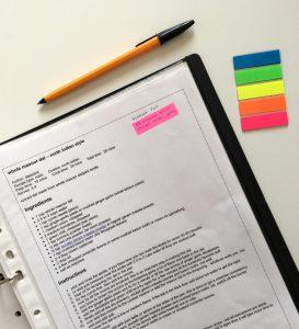 Recipe binder notes