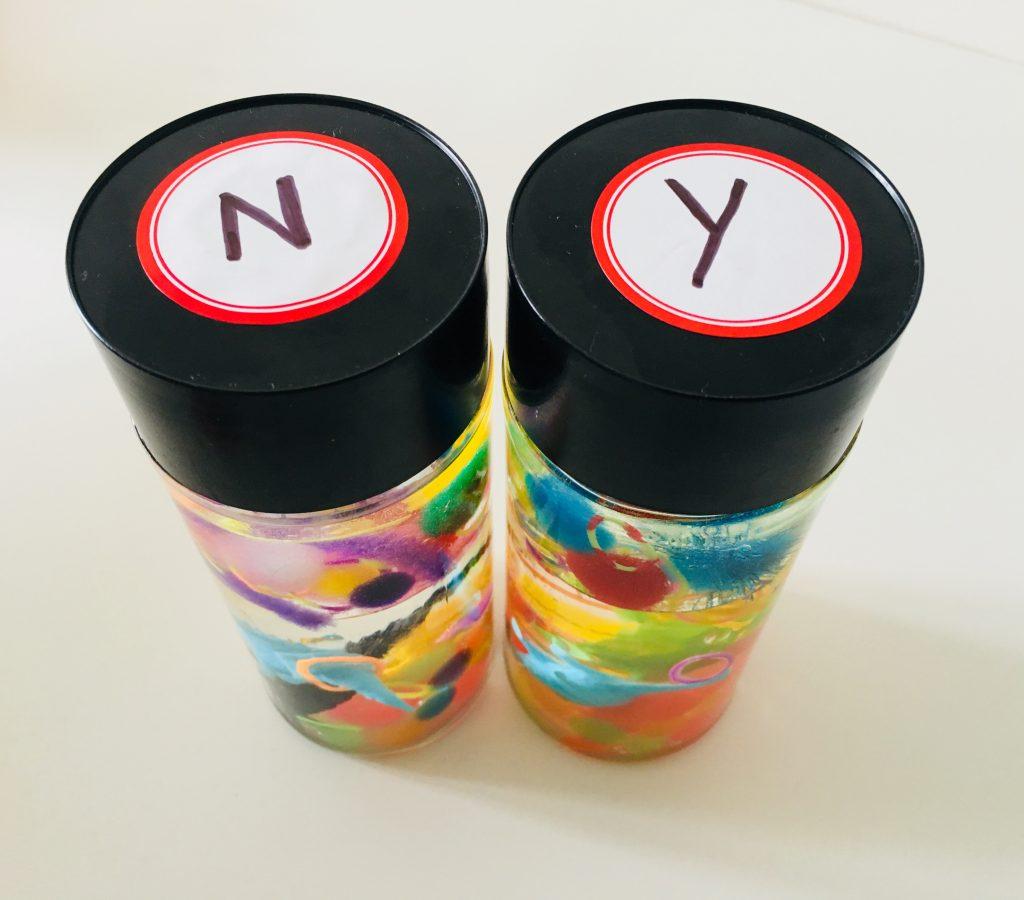 labelled sensory calm down bottles