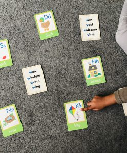 using alphabet cards to help your child to talk