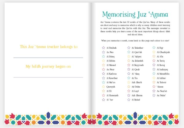 Juz 'Amma Hifdh Tracker inside pages